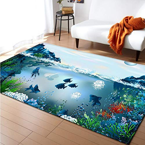 Blauer Unterwasser-3D-Fisch-Seetang-Druckteppich, Moderne Wohnraumdekoration, Kinder, Die Kleinkindteppich Kriechen 50cmx80cm