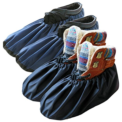 DearyHome 2 Pairs Washable Reusable Shoe Covers Non Slip Work Boot Covers Waterproof Shoe Protector for Household Contractors, X Large