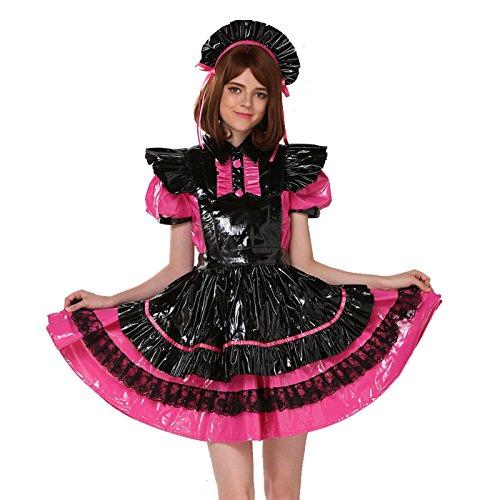 GOceBaby Sissy Mädchen Dienstmädchen Mehrfarbig Pink Schwarz PVC Abschließbares Kleid Crossdress (XXL)
