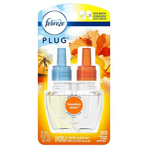 Febreze Plug Odor-Eliminating Air Freshener Scented Oil Refill, Hawaiian Aloha, 1 Count