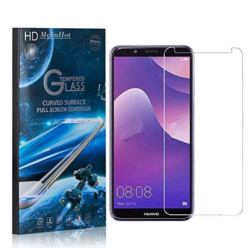MelinHot Displayschutzfolie für Huawei Y7 2018, 99% Transparenz Schutzfilm aus Gehärtetem Glas, 9H Härte, Keine Luftblasen, 3D Touch, 1 Stück