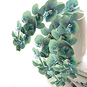 cn-Knight Tropical Artificial Flower 4pcs 28″ Long Stem Butterfly Orchid Big Size Lifelike Phalaenopsis Real Touch Moth Orchid for Wedding Bridal Home Décor Baby Shower Centerpiece(Blue)