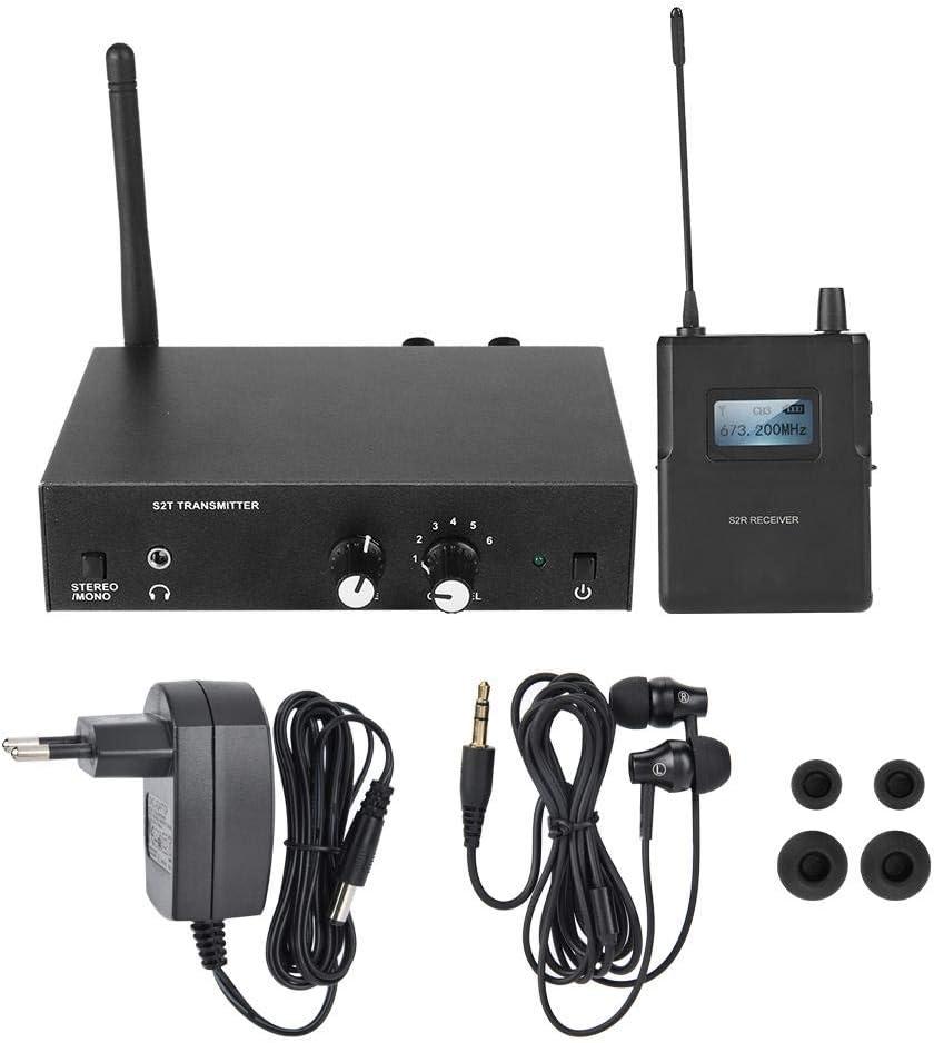 Gugxiom In Ear Monitor, Sistema de Monitor in Ear inalámbrico Duradero y fácil de Usar para Bodas DJs móviles(Enchufe de la UE, Transl)
