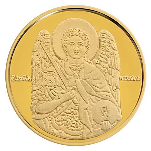 Conmemorativo Moneda Religiosa Medalla de Oro amarillo 24Ktes San Miguel Arcángel 16 mm 2.25 g 0.07 oz