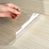Rectangular PVC Mantel, Transparente Plástico Mantel Mesa Limpiable Protector De Mesa Repelente Al Agua Fáciles De Limpiar para Cocina Comedor-Clear1.0mm-90×150CM(35×59in)