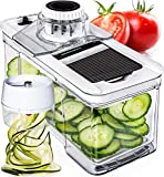 Adjustable Mandoline Slicer with Spiralizer Vegetable Slicer - Black...