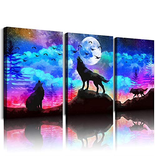 Canvas Wall Art for Living Room Bathroom Wall Decor for Bedroom Kitchen Artwork Canvas art Prints 3 Pieces Modern Framed Office Home Decorations Blue Starry Sky Landscape paintings Wolf Hang Pictures