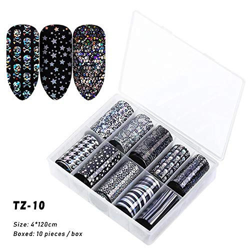 Nail Transfer Folie, 10 Stks/doos Transparante Transfer Lijm 3D Decals Nagel Art Stickers Holografische Manicure Decor TZ10