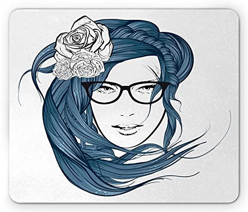 Lockenhaar Mauspad, Mädchen mit dem blauen Haar und Blumen Nerd Young Lady Profilskizze, Rechteck rutschfestes Gummi-Mauspad, Standard Nachtblau Schwarz Weiß