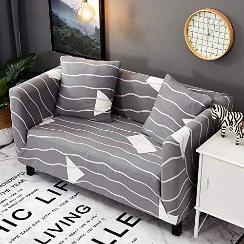 Funda Sofa 1 Plaza Líneas Grises Fundas para Sofa con Diseño Elegante Universal,Cubre Sofa Ajustables,Fundas Sofa Elasticas,Funda de Sofa Chaise Longue,Protector Cubierta para Sofá