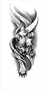 Tijdelijke Tatoeages 3 Vellen Waterdichte Tijdelijke Tattoo Stickers Zwarte Tattoo Grote Zwarte Tijger Schedel Leeuw Wolf ...