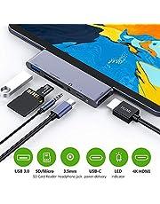 USB C Hub voor iPad Pro/iPad Air, 6 in 1USB C naar 4K HDMI adapter met USB 3.0-poorten, SD/TF kaartlezer, 3,5 mm audio, PD oplaadaansluiting, HDMI-converter voor iPad Pro 2020/iPad Air 4, MacBook Pro/Air