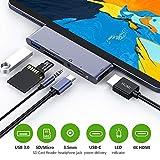 RayCue USB C Hub, 6 in 1 USB Typ C Hub auf 4K HDMI Adapter mit USB 3.0 Anschluss, USB C Stromversorgung, 3.5mm Audio Ausgang, SD/TF Kartenleser für Pad Pro 2018 / MacBook Pro 2016/2017/2018