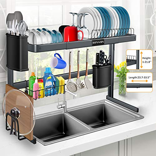 Over The Sink Dish Drying Rack, Stainless Steel Over Sink Dish Drying Rack Height (1-21.8'') & Length (23.7-33.5'') Adjustable for Dishes and Utensils, Kitchen Countertop Organization and Storage