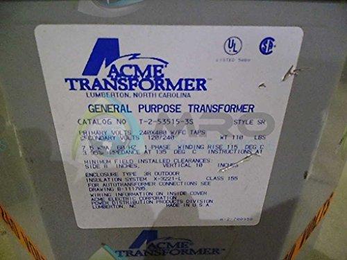 Acme Electric T2535153S Transformer, 7.5KVA, 1P, 240/480V, 120/240V, Isolation