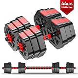 Weights Dumbbells Set – 44Lbs Adjustable Dumbbells Set – Barbell Weight Set with Connecting Rod – Stable Anti-Rolling Design – Safe and Comfortable Grip – Easy DIY Assembly – Protects Floors