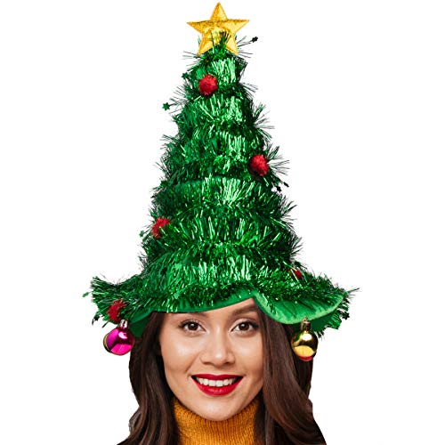 Simply Genius Christmas Tree Hat: Christmas Hat for Party Supplies, Christmas Costumes for Adults and Kids Green