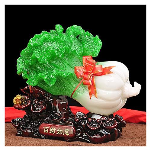 Riqueza Suerte Estatua Jade col Decoración de la sala de estar Oficina Lucky Decoración-decoración del hogar atraer la riqueza y buena suerte, Feng Shui Decoración de resina Figuras de Colección Decor