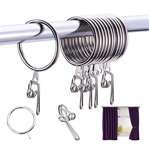 30pcs Anillos de Cortina & 100pcs Ganchos de Cortina Metal Resistente Herrumbre Colgar Anillos 30mm de Diámetro Interno para Cortinas y Barras, Plata