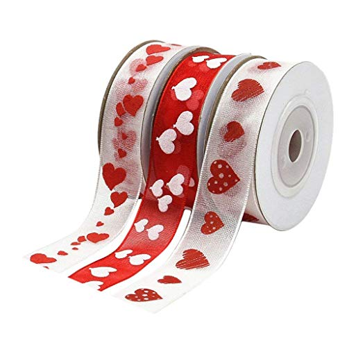 Organza Ribbon with Love Heart Printed for Valentine's Day Package Wrapping, Hair Bow Clips & Accessories Making, Crafting, Wedding, Boy Girl Baby Shower, Decorating, Parties