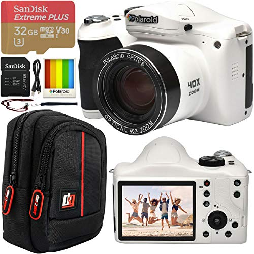 """Polaroid 18MP 40x Optical Zoom Digital Camera with HD Video 3"""" LCD Screen and Built in Flash IE4038WHT Bundle w/Deco Gear Camera Bag Case + SanDisk 32GB Extreme Plus microSD Memory Card & SD Adapter"""