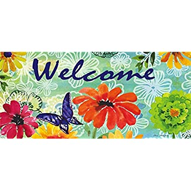 Evergreen Bright Floral Welcome Decorative Floor Mat Insert, 10 x 22 inches