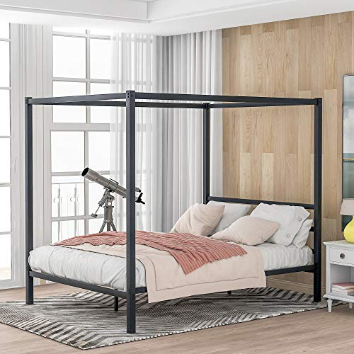 JULYFOX Metal Framed Canopy Four Poster Platform Bed Frame/Strong Steel Mattress Support/No Box Spring Needed, Queen,Black