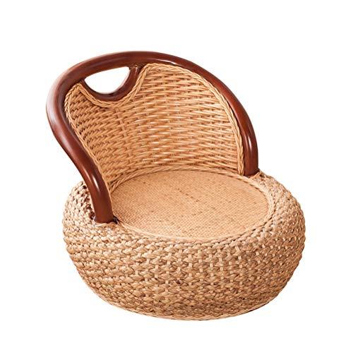 Duan hai rong DHR-Sitzsäcke Boden Meditation Seat, japanischer Tatami Legless Rattan-Stuhl mit dem Rücken, Handcrafted Pad Stricksitzkissen for Zen Meditation/Seminare/Lesen/Fernsehen/Gaming