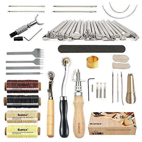 Leather Tools SIMPZIA 52 pcs Leather Kit with...