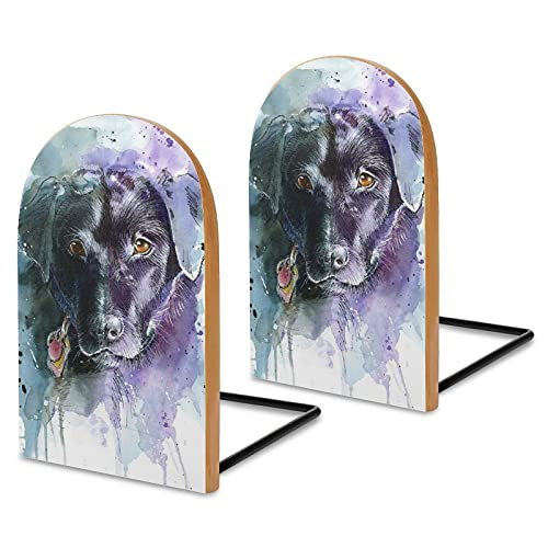 Labrador Lab Retriever Dog Art Book Ends Universal Wooden Book Stopper Bookends for Shelves/Books/Movies/CDs/Video Games(1 Pairs, 3' x 5')
