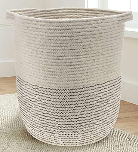 Extra Large Woven Storage Baskets | 18' x 16' Decorative Blanket Basket, Use for Sofa Throws, Pillows, Towels, Toys or Nursery | Cotton Rope Organizer | Coiled Round White Laundry Hamper with Handles
