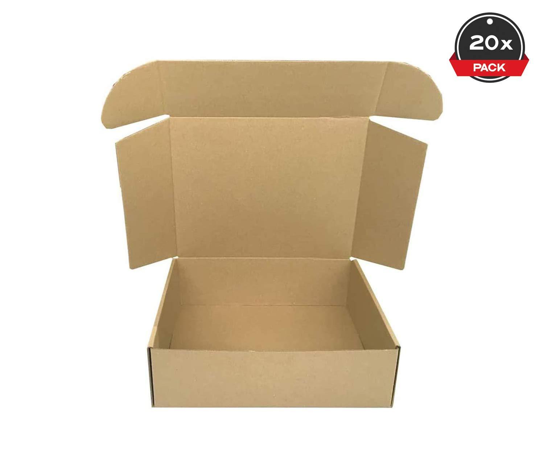 Cajeando | Pack de 20 Cajas de Cartón Automontables | Tamaño 26 x 21 x 8 cm | Para Envíos y Mudanzas | Color Marrón y Microcanal | Fabricadas en España: Amazon.es: Oficina y papelería