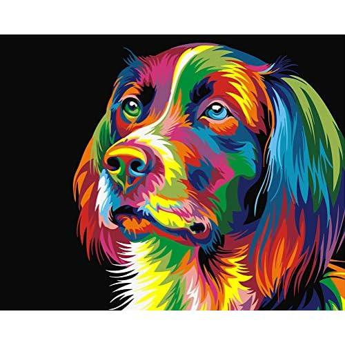 WONZOM [Senza Cornice DIY Dipinto ad Olio Dipingere con i Numeri Kit per Adulti Bambini - Neon Cane Disegno Animale colorato 16 * 20 Pollici