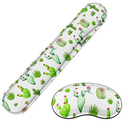 Supgear Reposamuñecas para Teclado y Ratón Alfombrilla Cojín de Muñeca,Ergonómico Cojín de Muñeca Apoyo con Espuma de Memoria para Ordenador/Notebook/Laptop(Cactus)