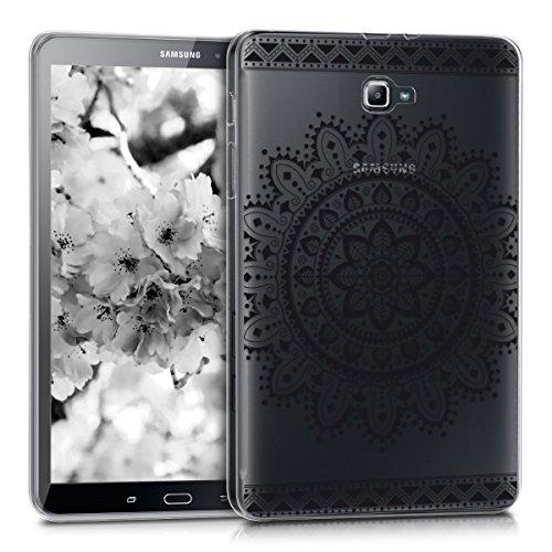 kwmobile Carcasa Compatible con Samsung Galaxy Tab A 10.1 T580N/T585N (2016) - Funda para Tablet de TPU - Flores Aztecas Negro/Transparente