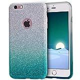 MATEPROX - Carcasa para iPhone 6 Plus, con purpurina, transparente, 3 capas, carcasa híbrida, funda protectora para iPhone 6S plus/6 Plus de 5,5 pulgadas, compatible con iphone 6 plus, iphone 6s plus