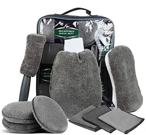 LUXEXPE Autopflege Reinigung Set 9 PCS, Waschset kfz Autowaschhandschuh Mikrofaser zur Autoreinigung, Wachs-Tuch Reinigungstuch Set für Auto Motorrad Innen und Außen Haushalt Reinigung …