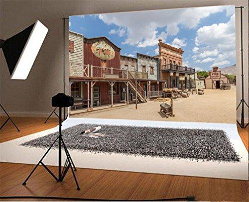 YongFoto 3x2m Vinyle Toile de Fond Far West Country Maison de Cow Boy Occidental Fond Décors Studio Photo Portrait Enfant Video Fete Mariage Photobooth Photographie Accesorios
