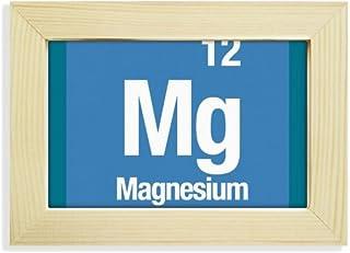 DIYthinker MG de magnesio Elemento químico Chem Escritorio de Madera Marco de la Foto del Arte Pintura 5X7 Pulgadas