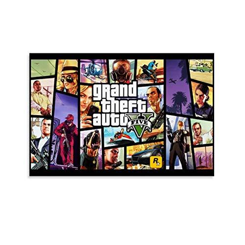 ZHENGDONG GTA 5 Poster décoratif sur toile pour salon, chambre à coucher 30 x 45 cm