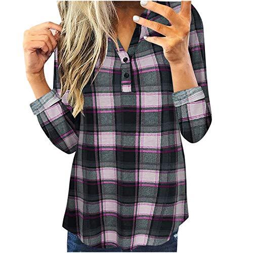 Bluse Shirt Frauen Tops Casual Langarm Plaid Slim Shirt (3XL,1Rosa)