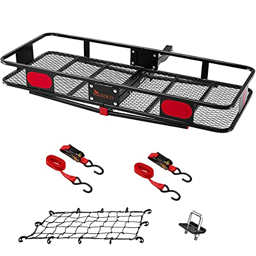 KING BIRD Upgraded 60' x 24' x 6' Folding Hitch Mount Cargo Carrier, 550LBS Capacity Luggage Basket...