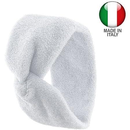 1110 - Fascia per capelli spugna di cotone made in Italy cm 7 con nodo centrale - Fasce per capelli (Bianco)