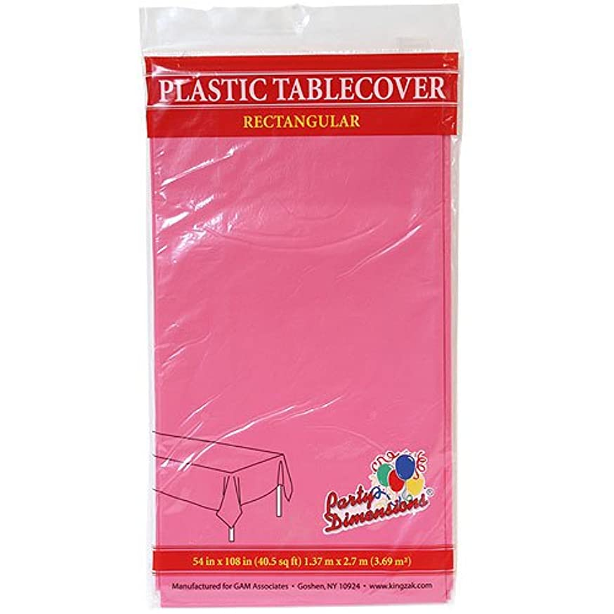 Party Dimensions Rectangle Tablecover, 54 by 108-Inch, Hot Pink