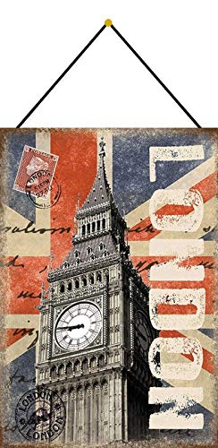 Metalen bord 20x30cm gewelfd met koord Londen Big Ben Deco Gift Bordje Ansichtkaart Tin Sign