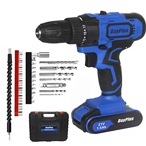 Cordless Drill Driver 21V Combi Drill, Drill Screwdriver Set with 29pcs Accessories, 18 + 1 Torque Setting and LED Light, 45Nm Impact Power Tool