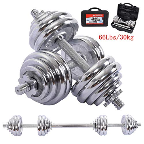 intent_Side Adjustable Dumbbell Set Barbell Lifting Workout Free Weights 66LBS with Connecting Rods and Storage Box Strength Training for Home Gym Office Exercise Fitness US Fast 7-10Days Delivery