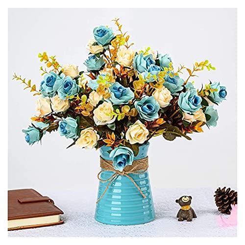JSJJAES Flores Artificiales Centro de arreglos de Flor de Rosa Artificial con cerámica Azul jarrón para decoración del hogar (Color : Blue)