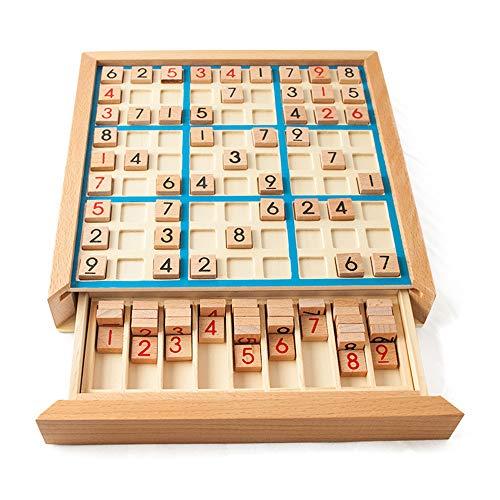 Lixada Juego de Rompecabezas de Madera Sudoku Juego de Sudoku de Madera con Cajón Math Brain Teaser Juguetes de Escritorio