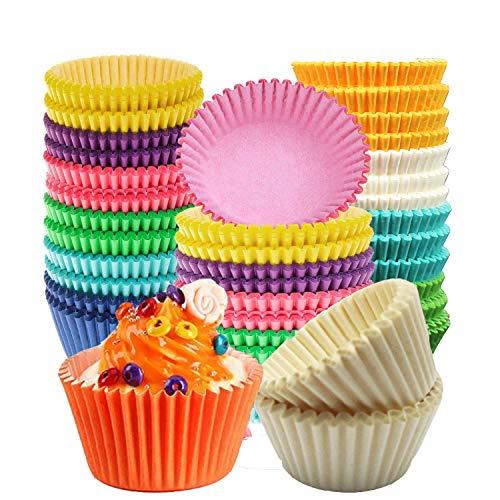 500pcs Fodere per cupcake, Wrapper per cupcake, Tazze da forno monouso in carta per cupcake per palline, muffin, cupcake e caramelle. (9 colori brillanti assortiti)